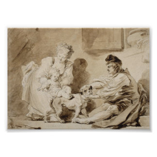 First Lesson of Horse Riding by Fragonard Print