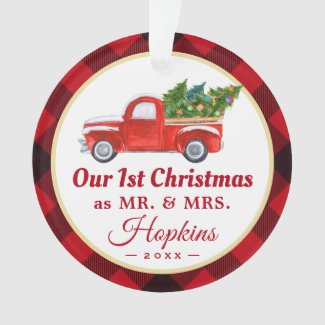 First Married Christmas Truck Red Plaid Photo Ornament