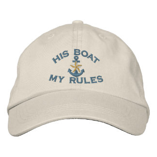 First Mate His Boat My Rules White Star Anchor Embroidered Hat