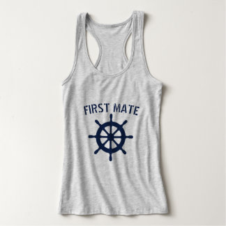 First Mate nautical boat wheel tank top for women
