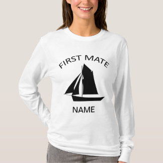 First Mate Sailor Name Ladies White LS T-Shirt