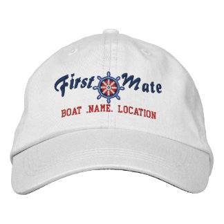 FIRST MATE Wheel Customizable Boat Name Your Name Embroidered Hats