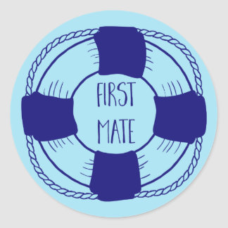 First Mate with Life Preserver Classic Round Sticker