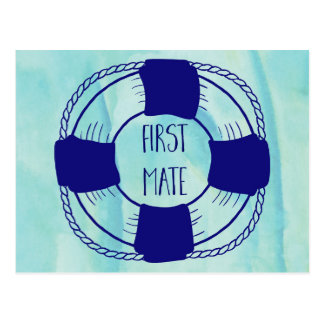 First Mate with Life Preserver Postcard