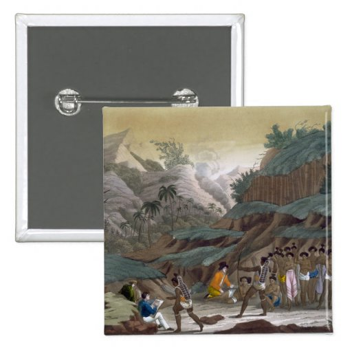 First Meeting of French Explorers with the Indigen Pinback Button