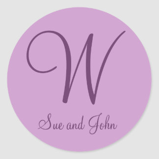 First Names and Last Initial Mauve W Classic Round Sticker