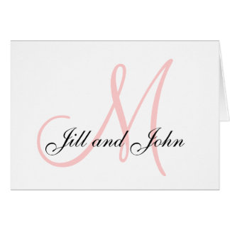 First Names and Last Initial Pink Thank You Card