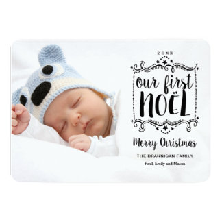 First Noel Merry Christmas Holiday Photo Card