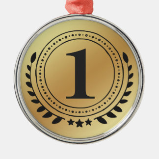 First Place Honor Gold Medal With Gold Gradient Metal Ornament