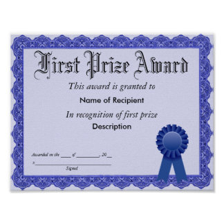 First Prize Blue Ribbon Award Poster