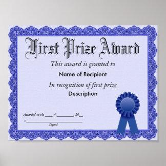 First Prize Blue Ribbon Award Poster