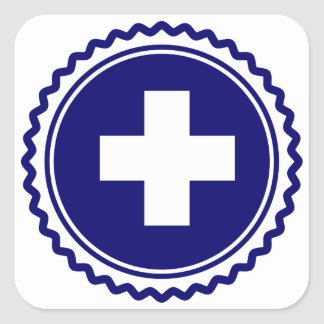 First Responder Blue Health Care Cross Square Stickers