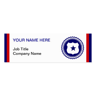 First Responder Blue Police Badge Mini Business Card
