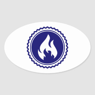 First Responder Firefighter Blue Flame Badge Oval Stickers