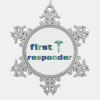 First Responder Snowflake Pewter Christmas Ornament