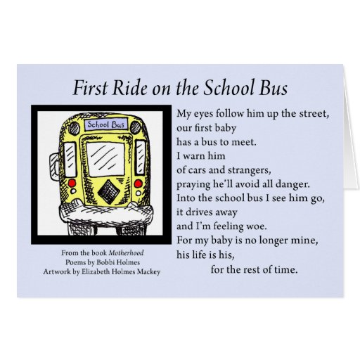 First Ride on the School Bus Card