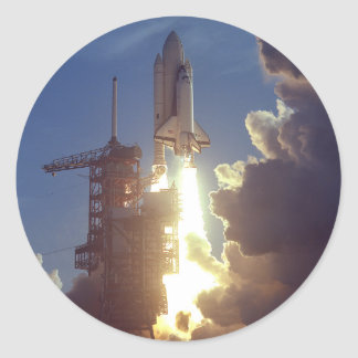 First Shuttle Launched Round Sticker