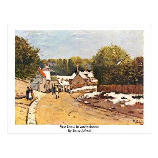 First Snow In Louveciennes By Sisley Alfred Postcard
