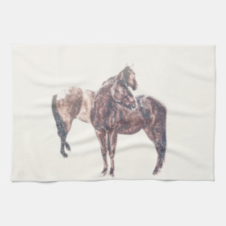 First Snow Patina Kitchen Towel Western Horse
