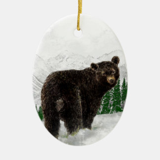 First Snowfall Black Bear Mountain Wilderness Ceramic Ornament
