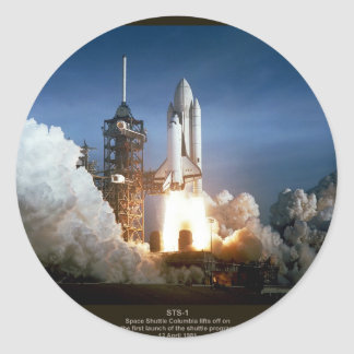 First Space Shuttle launch STS-1 Columbia Round Sticker