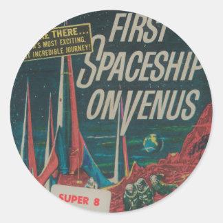 First Spaceship on Venus Vintage Scifi Film Classic Round Sticker