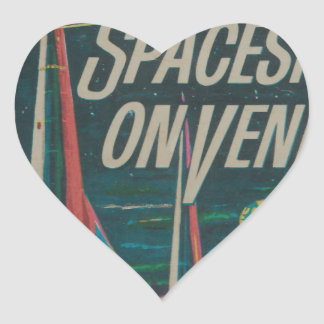 First Spaceship on Venus Vintage Scifi Film Heart Sticker