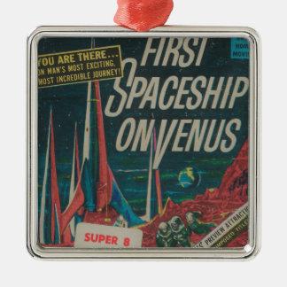 First Spaceship on Venus Vintage Scifi Film Metal Ornament