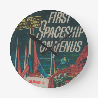 First Spaceship on Venus Vintage Scifi Film Round Clock
