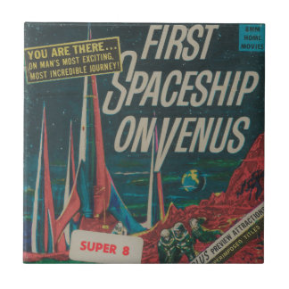 First Spaceship on Venus Vintage Scifi Film Tile