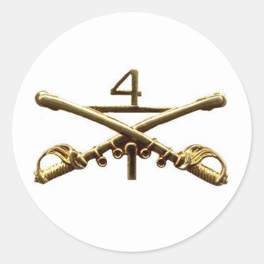 First Squadron Fourth Cavalry Brass Classic Round Sticker
