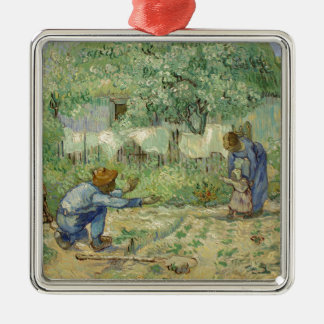First Steps after Millet by Vincent Van Gogh Silver-Colored Square Ornament