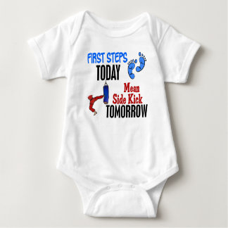 First Steps Today Mean Sidekick Tomorrow Karate Baby Bodysuit