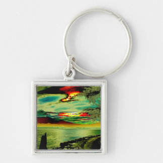 First sunrise Silver-Colored square keychain