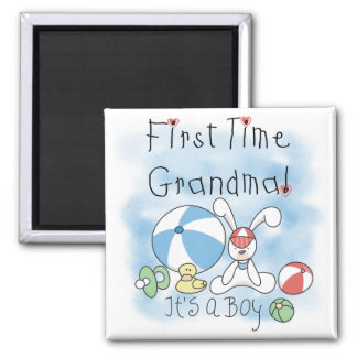 First Time Grandma of Boy Tshirts and Gifts Square Magnet