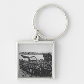 First to Fight - US Marines - 1918 Silver-Colored Square Keychain