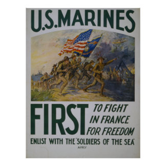 First To Fight USMC Poster
