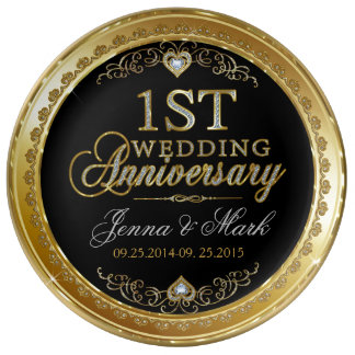 First Wedding Anniversary Gold And Diamonds Plate