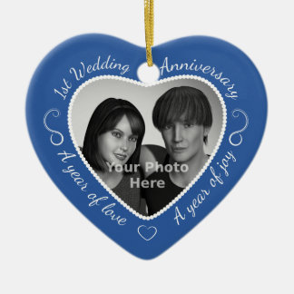First Wedding Anniversary Photo Ceramic Heart Ornament
