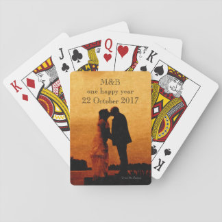 First year wedding anniversary keepsake playing cards