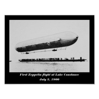 First Zeppelin flight at Lake Constance Poster