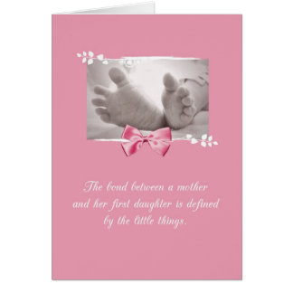 Firstborn Girl Congratulations Baby Feet Pink Bow Card