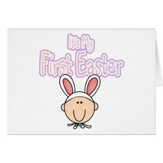 firsteastergirlrabbit greeting card
