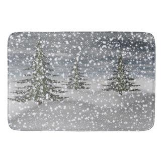 firtree and snow bath mat