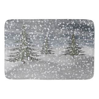 firtree and snow bathroom mat