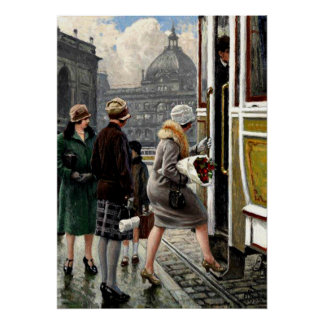 Fischer - At the Tram Stop Poster