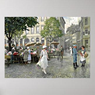Fischer - Market Day at Hojbro Plads, Copenhagen Poster