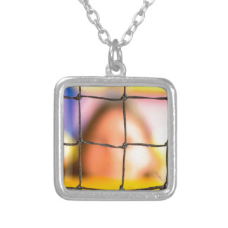 Fischer net with woman in the background silver plated necklace