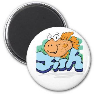 Fish 2 Inch Round Magnet