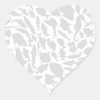 Fish a background2 heart sticker